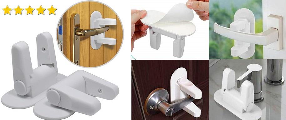 Cerradura de la manija de la puerta para la seguridad del bebé con 3M Adhesivo, usar para Armarios, WC, Cocinas, Puertas y Ventanas