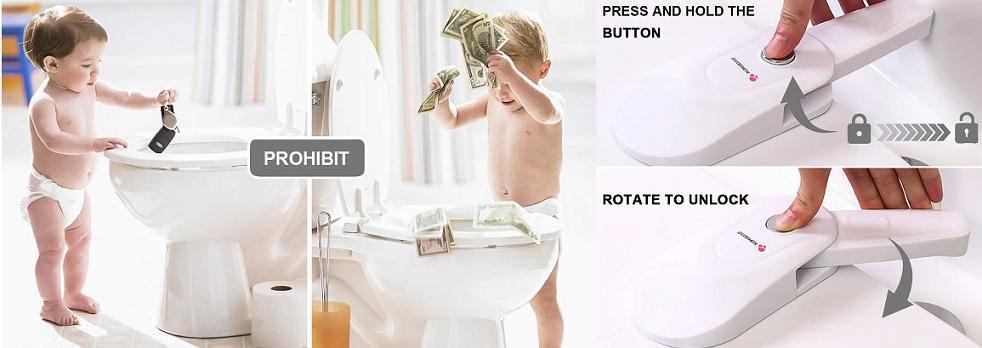 Seguridad para Bebés, traba para asiento de water, cierre de seguridad para tapa del inodoro niños